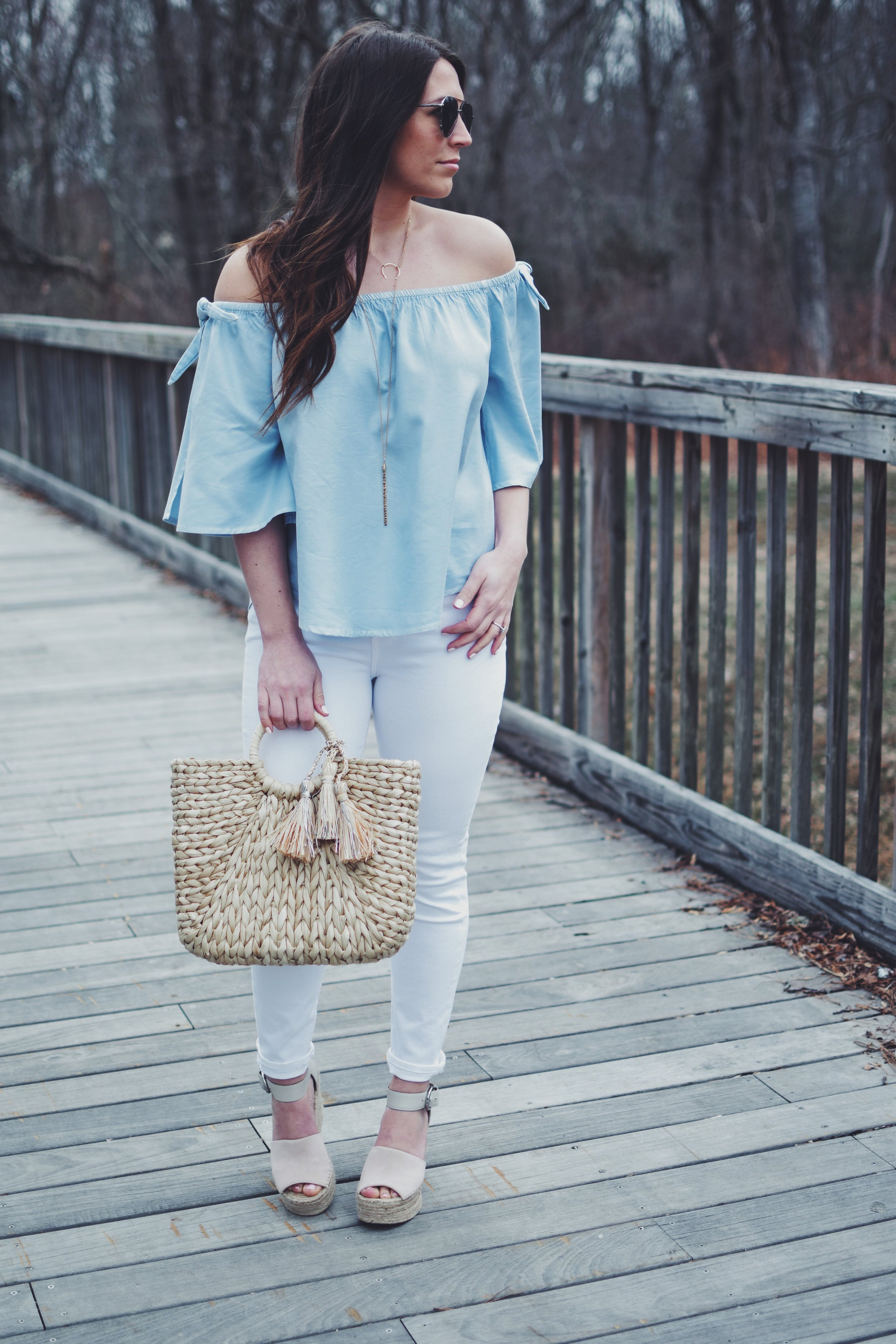 How to Style White Denim for Easter   Pine Barren Beauty   citizen's of humanity white denim, billabong off the shoulder chambray top, Marc fisher wedges, spring outfit idea, spring outfit inspiration, easter outfit idea, what to wear for easter, how to style a straw bag