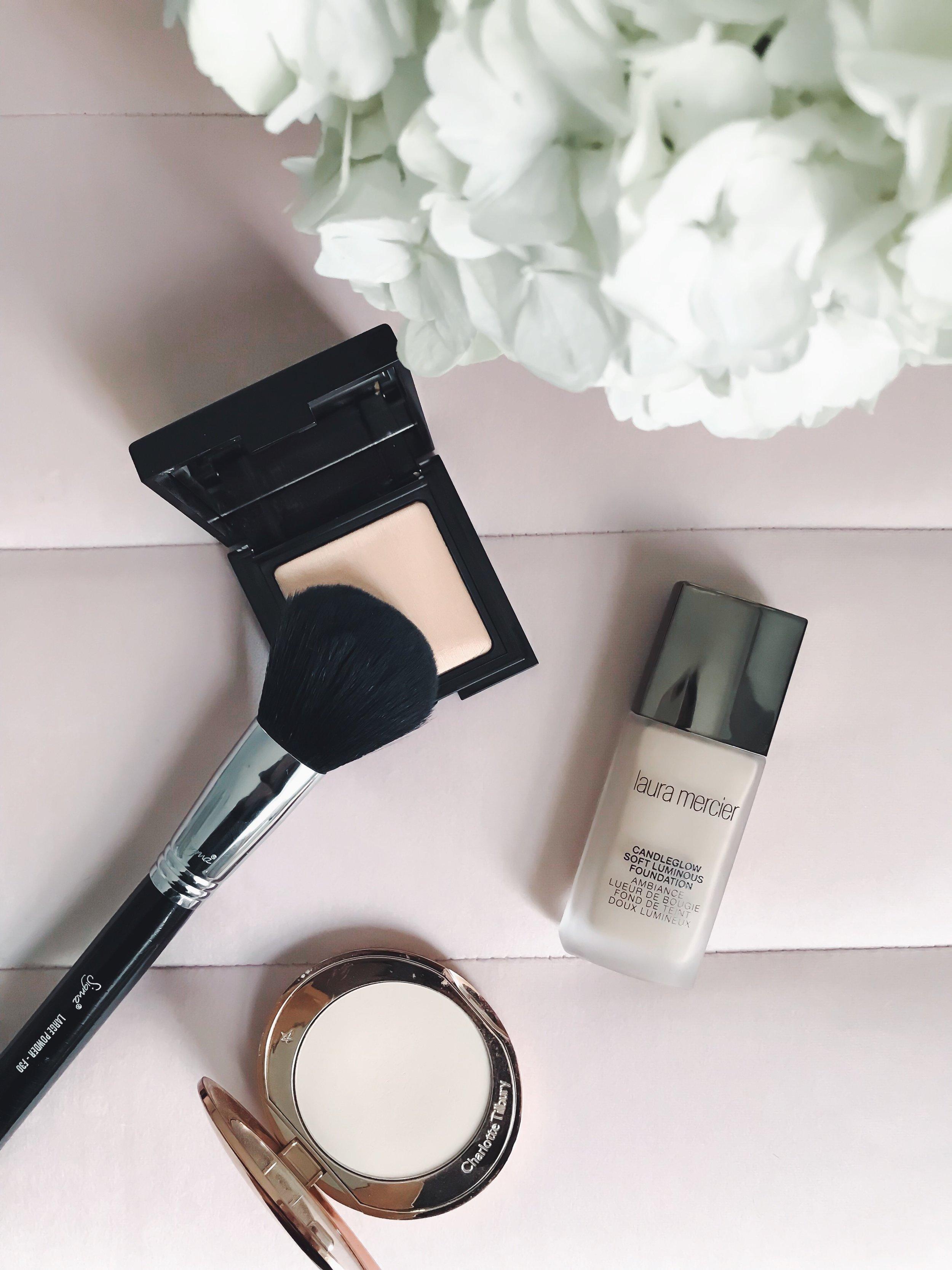 Recent Beauty Buys | Pine Barren Beauty | Laura Mercier foundation, Charlotte Tilbury setting powder, Laura Mercier setting powder, beauty product review, beauty product flat lay