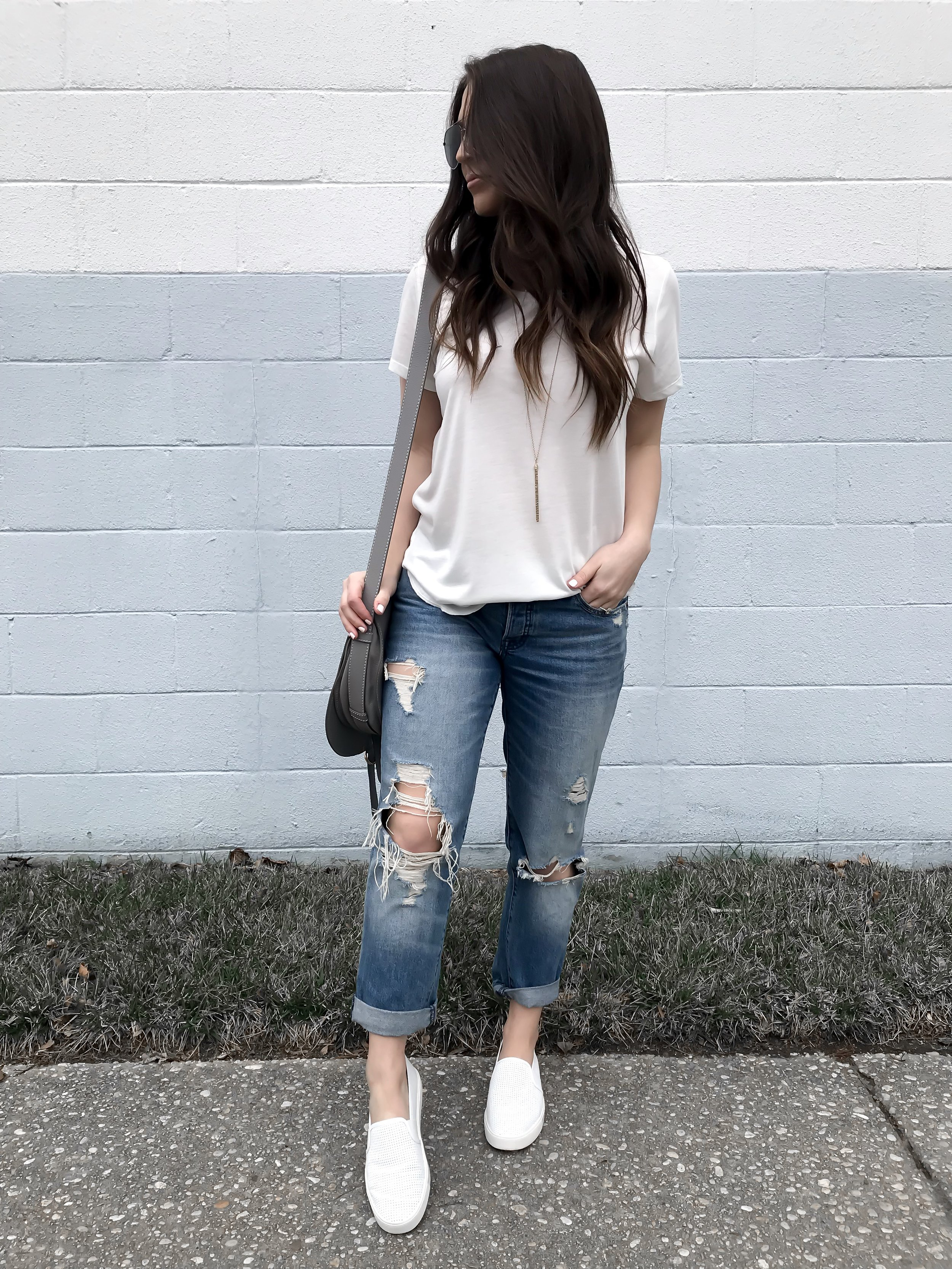 Instagram Round Up + Current Sales | Pine Barren Beauty | outfit of the day, outfit details, spring outfit, basic white tee, distressed denim
