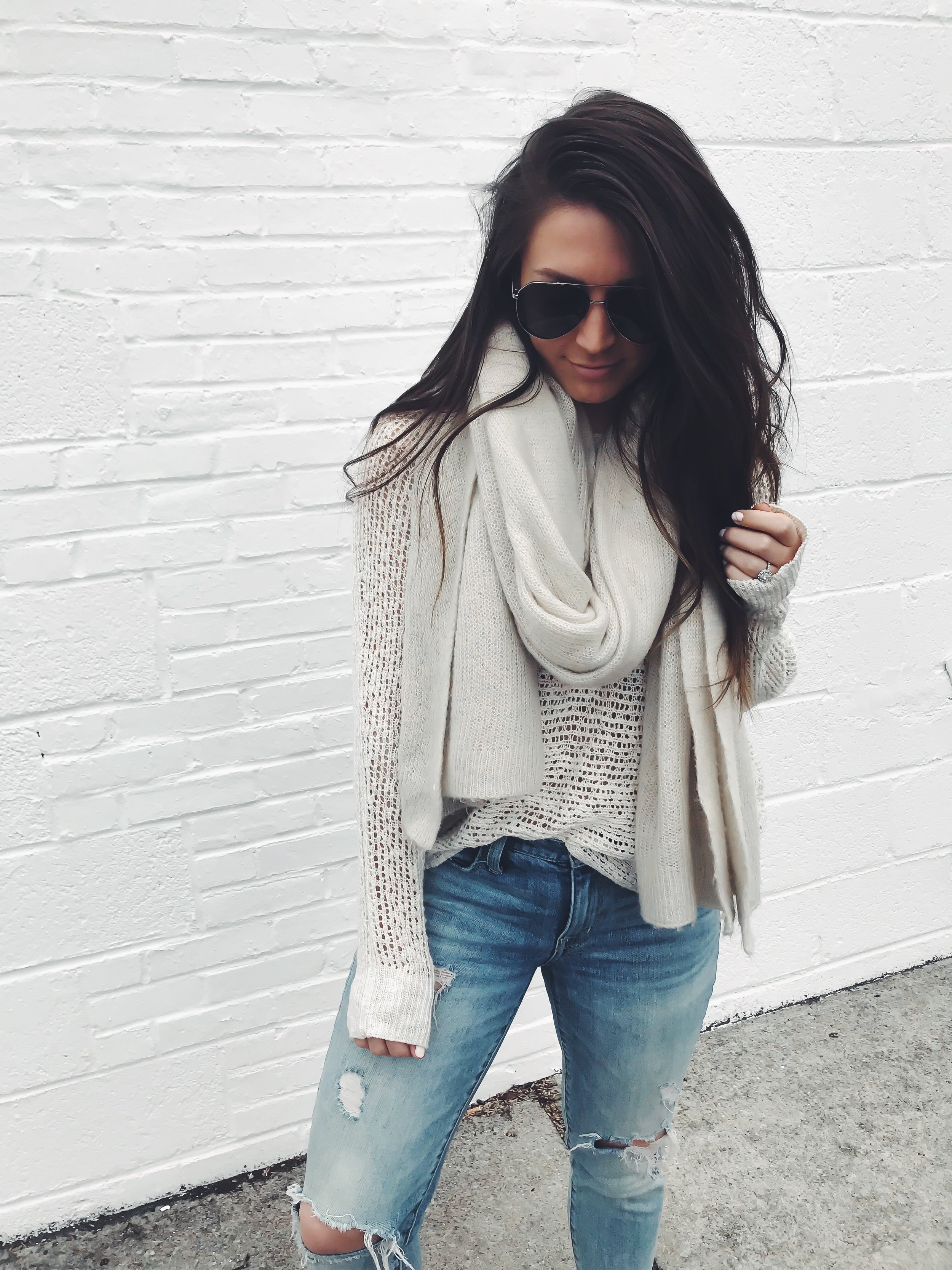 Instagram Round Up + Current Sales | Pine Barren Beauty | outfit of the day, outfit details, spring outfit, spring transition outfit, distressed denim, light weight sweater