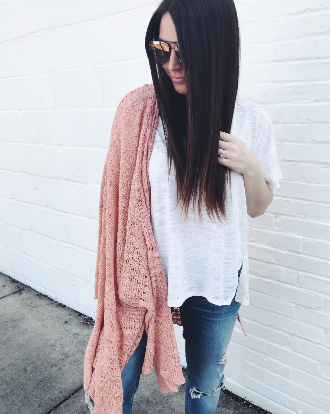 Instagram Round Up + Current Sales | Pine Barren Beauty | outfit of the day, outfit details, spring outfit, free people tee, light weight cardigan, distressed denim