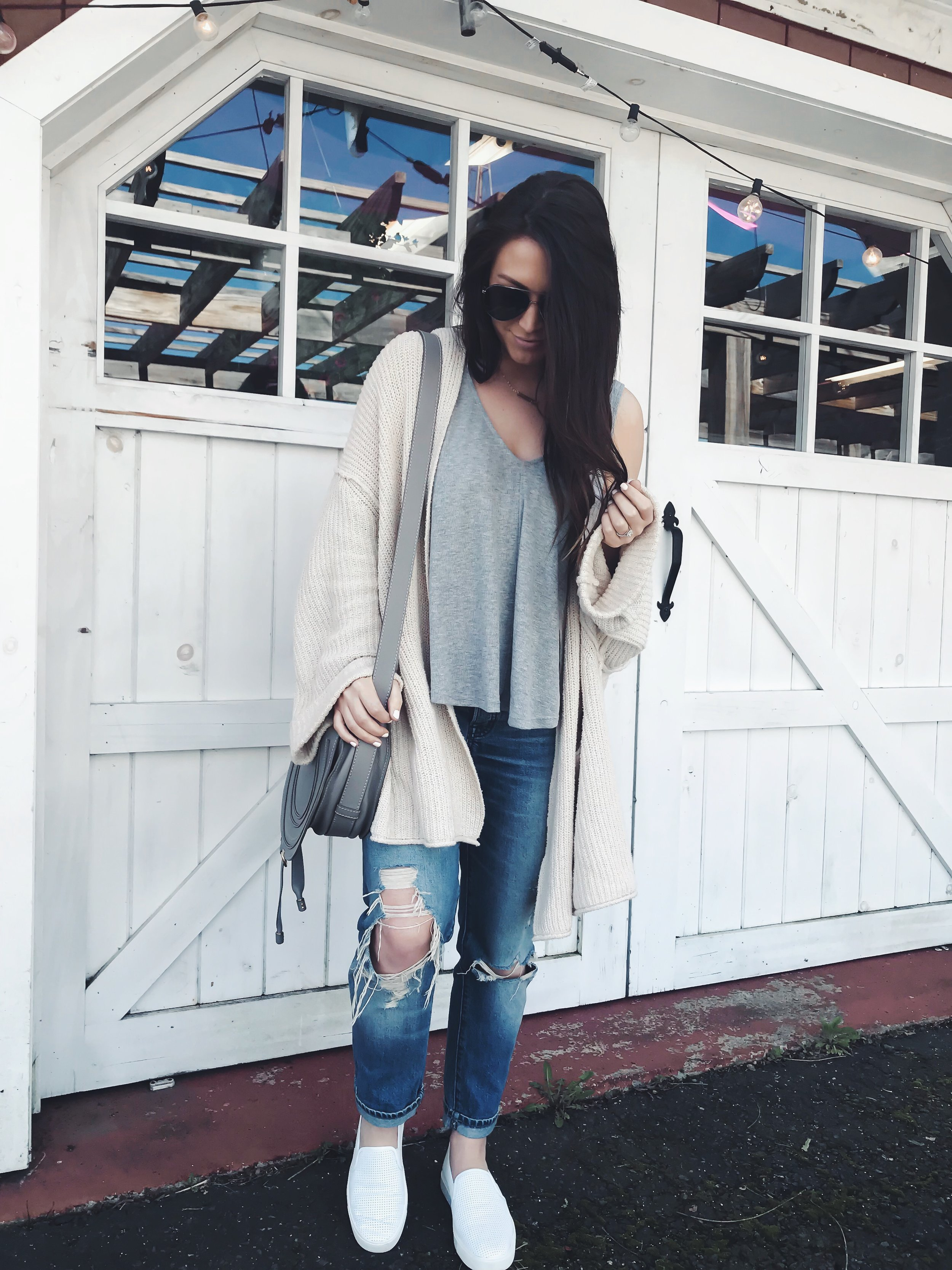 Instagram Round Up + Current Sales | Pine Barren Beauty | outfit of the day, outfit details, spring outfit, free people tank, cozy cardigan, Vince slip on sneakers, distressed denim