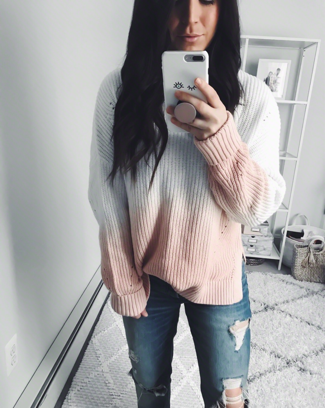 Instagram Round Up + Current Sales | Pine Barren Beauty | outfit of the day, outfit details, spring outfit, light weight spring sweater, ombre sweater, distressed denim