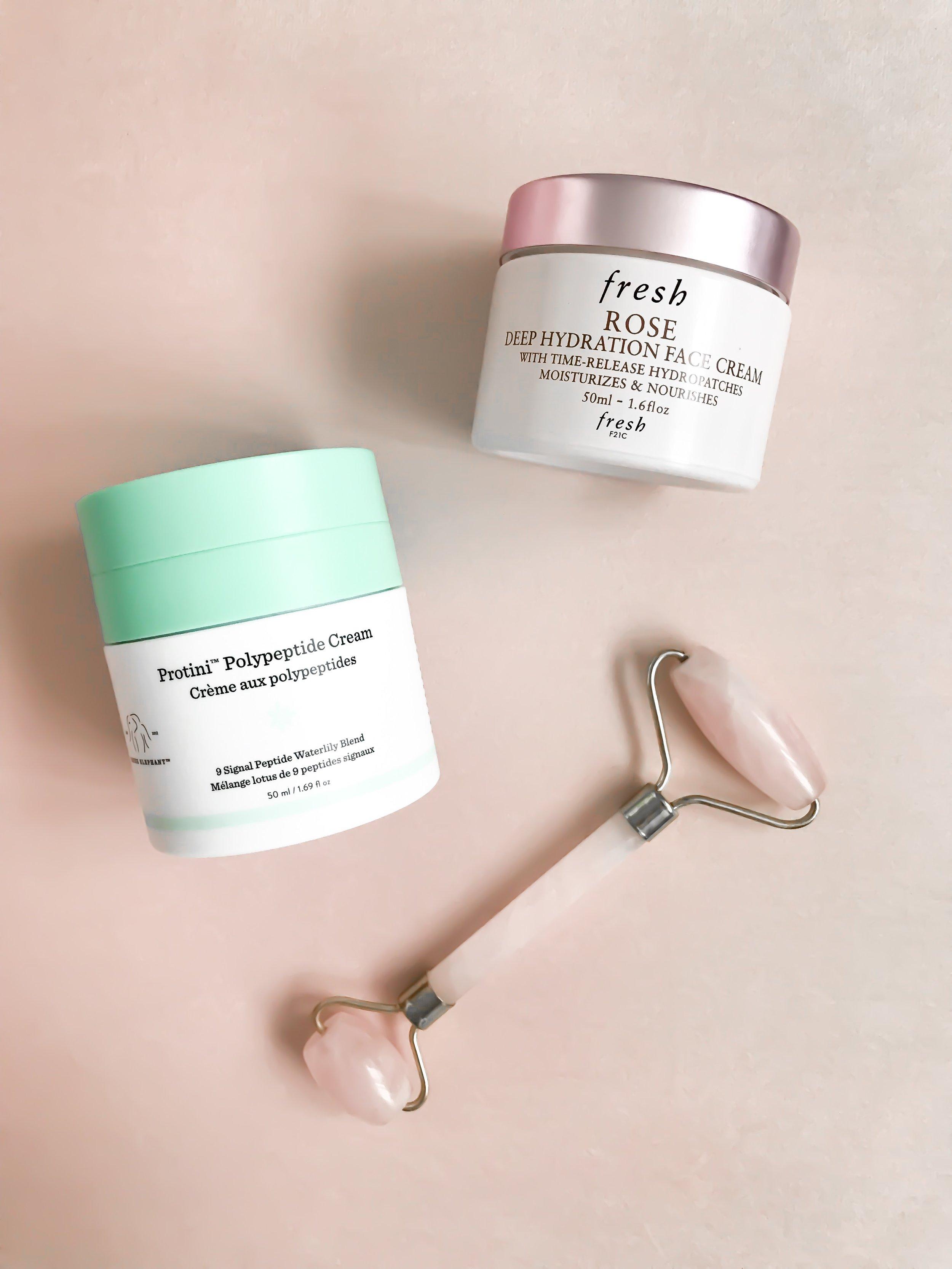 Spring Skincare Routine | Pine Barren Beauty | spring skincare, drunk elephant protini face cream, fresh rose moisturizer, rose quartz facial roller