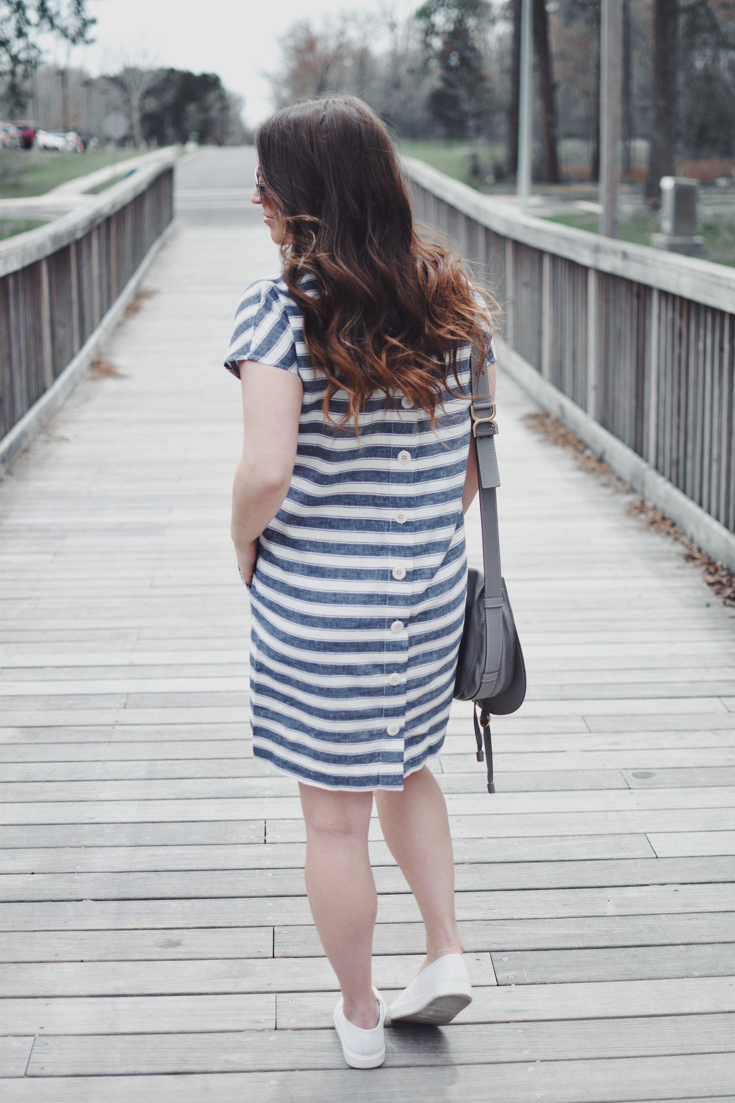 Striped Linen Dress | Pine Barren Beauty | spring fashion, spring outfit, spring feels, striped dress, linen dress, Vince slip on sneakers, Chloe cross body bag