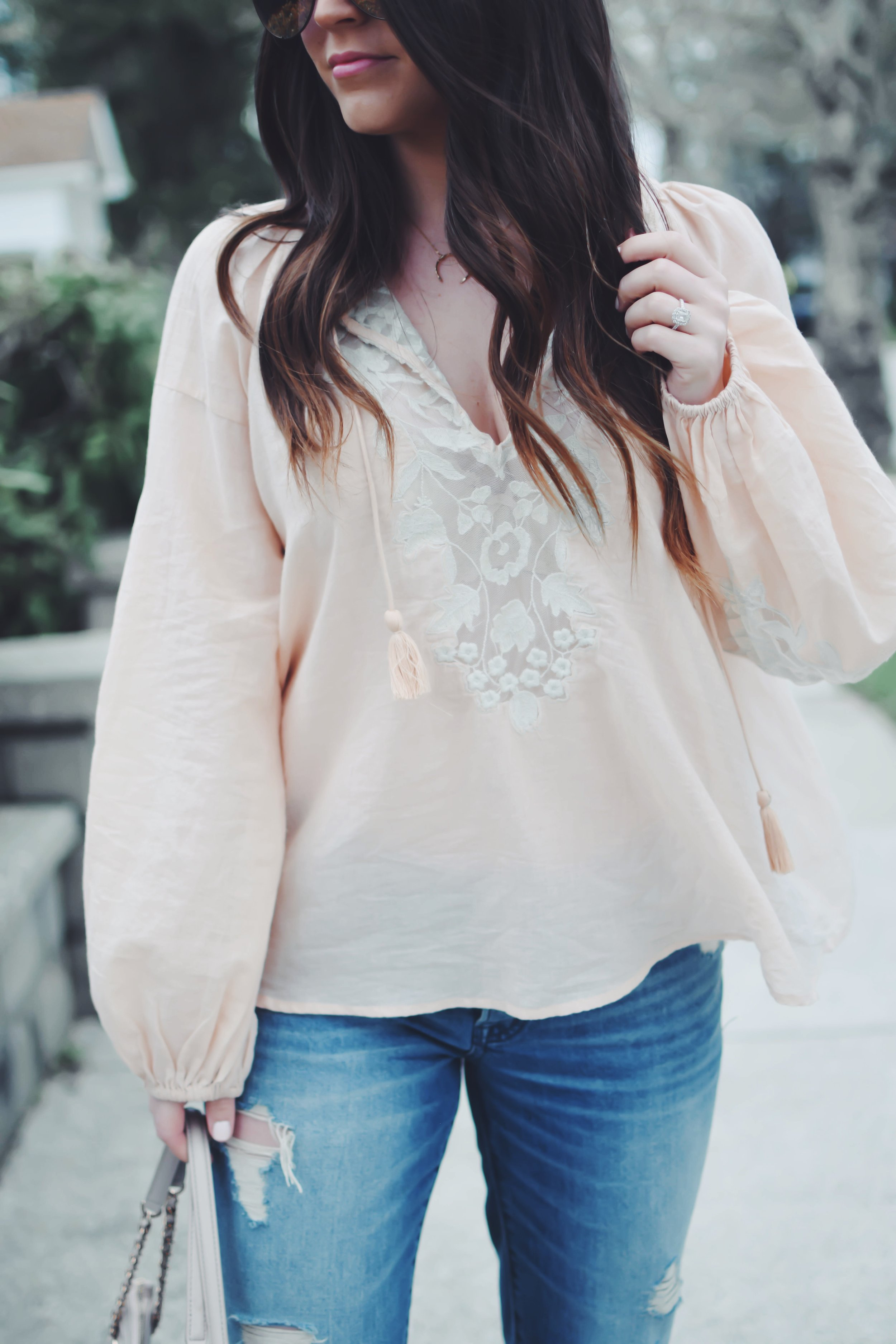 Boho Top with Lace Detail | Pine Barren Beauty | spring fashion, spring outfit idea, spring outfit inspiration, free people flowy top, Abercrombie distressed denim, tory burch handbag