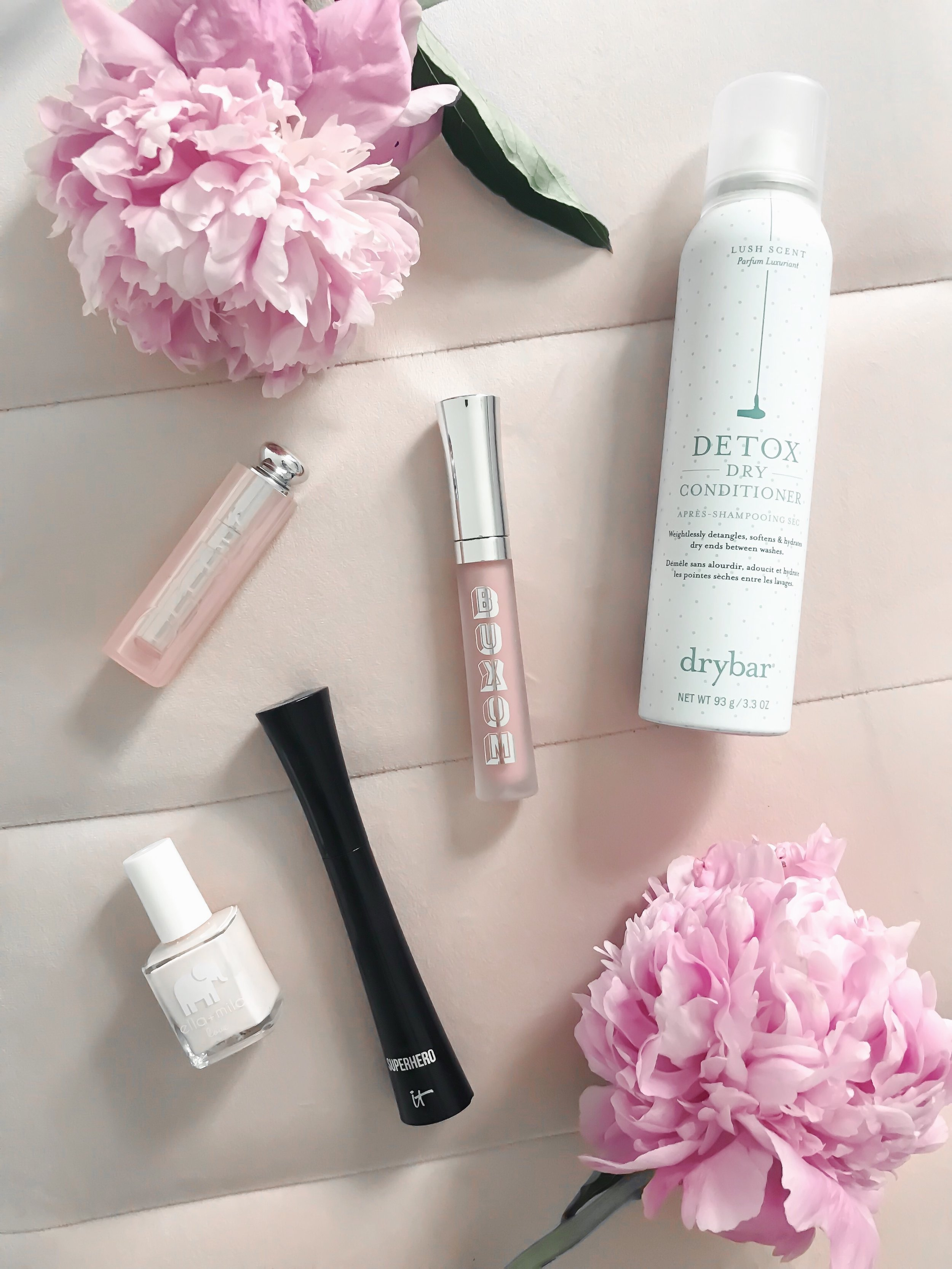 Spring Beauty Review | Pine Barren Beauty | spring makeup products, spring hair products, spring beauty, beauty product flat lay, dry bar dry conditioner, buxom full on lip cream, it cosmetics super hero mascara, Dior lip glow, Ella + Mila nail polish