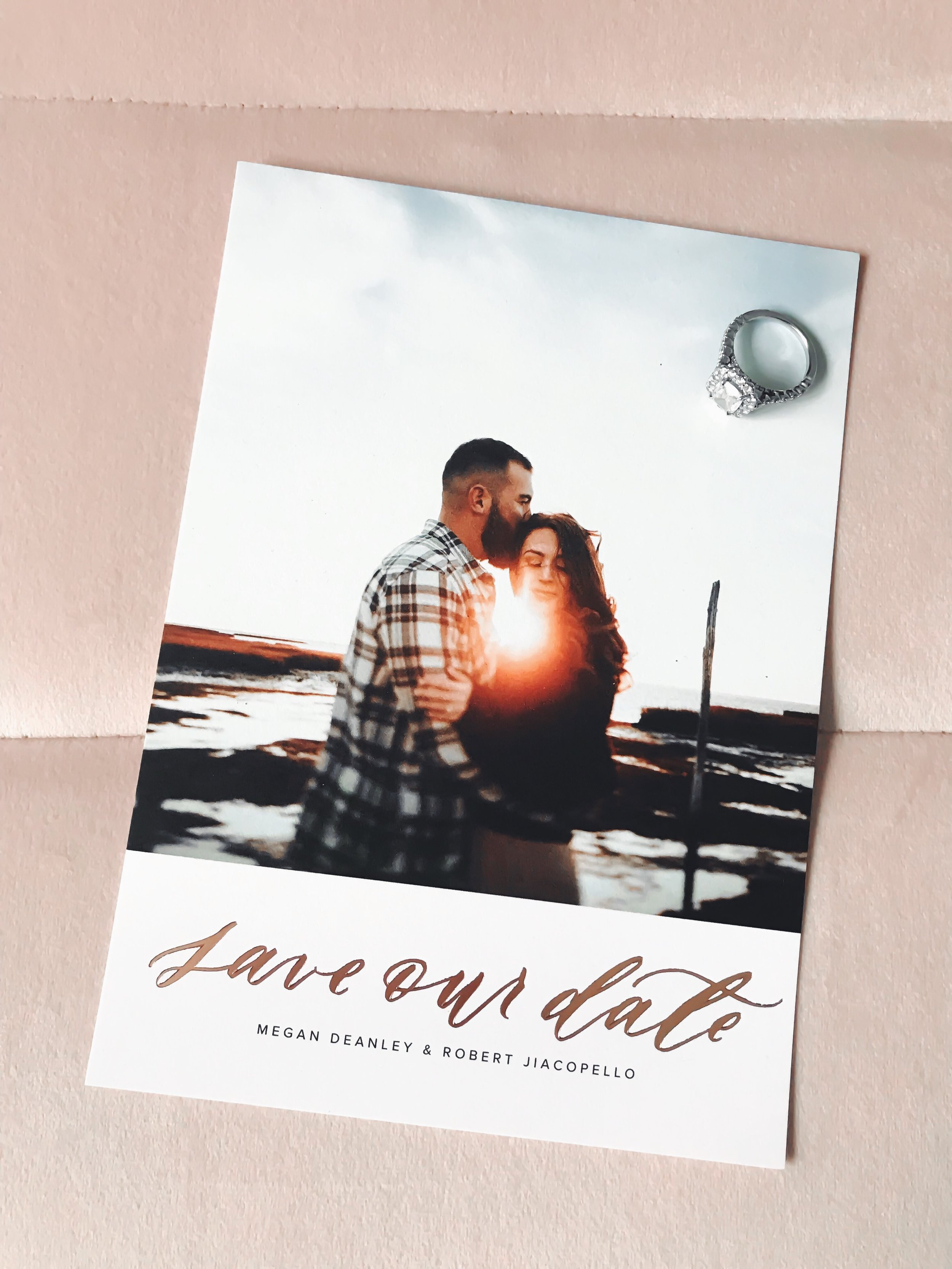 Save the Dates with Artifact Uprising | Pine Barren Beauty | where to get save the dates, save the dates with rose gold foil, rose gold foil save the dates, simple save the dates, chic save the dates
