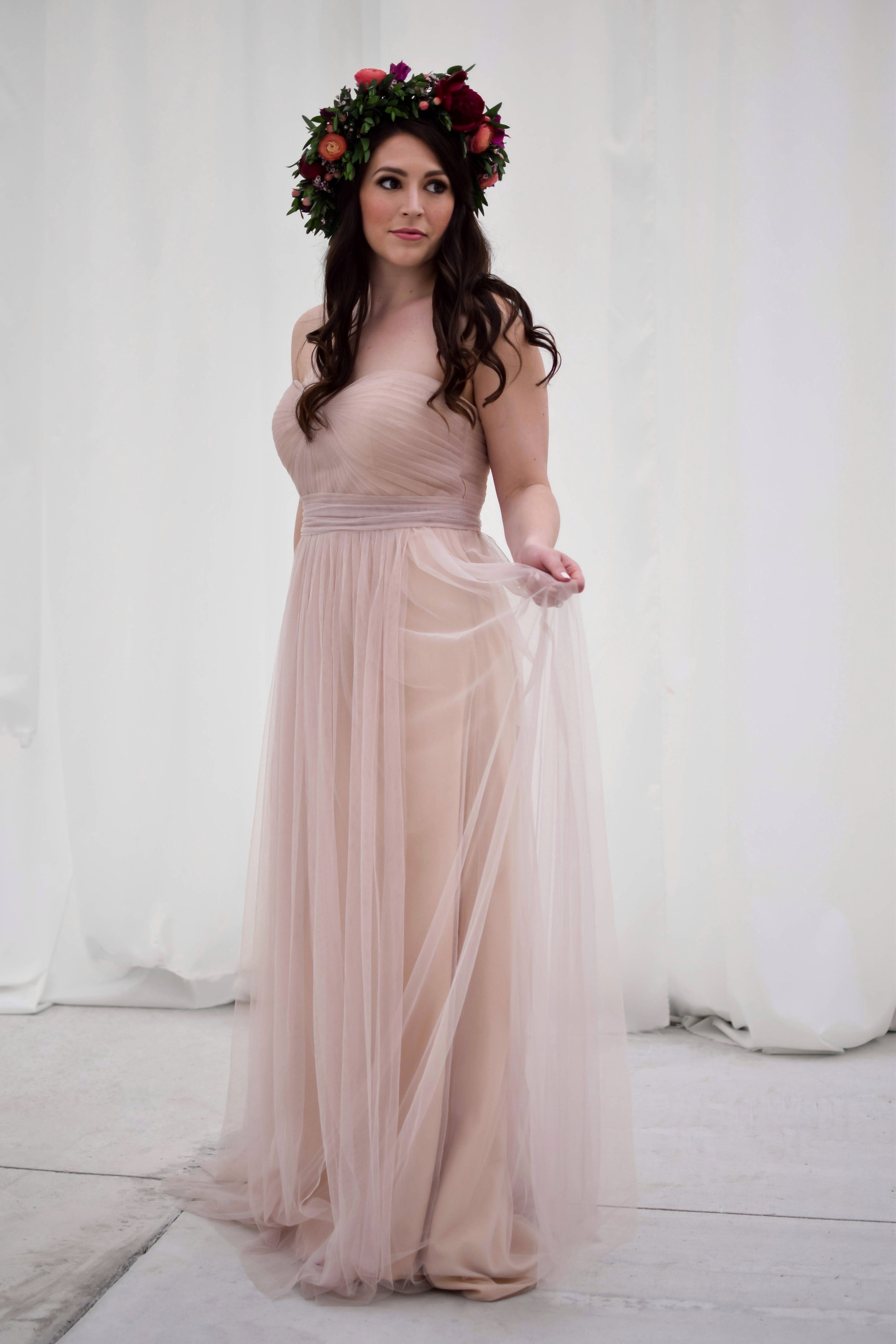 Bridal Looks for Less with eBay | Pine Barren Beauty | styled bridal shoot, bridal dress ideas, bridal party dress ideas, bhldn bridesmaid dress, tulle dress, flower crown, flower crown ideas, bridal flower crown, bridal hair, natural bridal makeup, boho bridal look