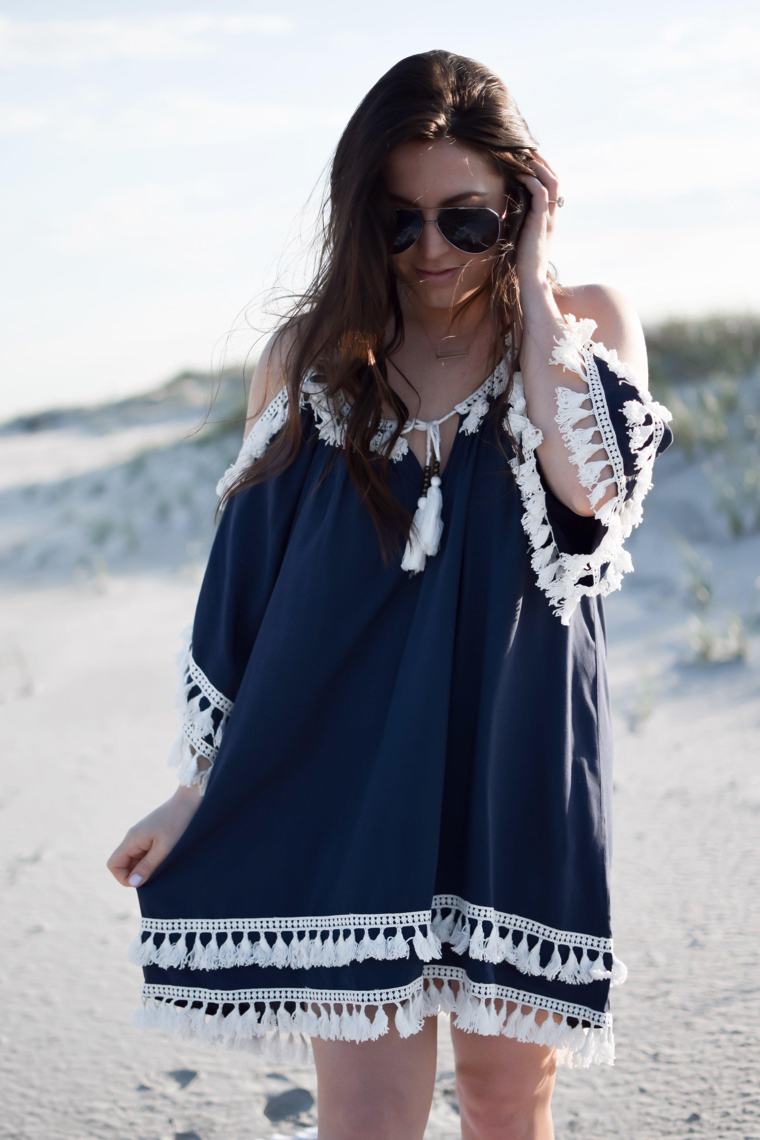 10 Beach Cover Ups Under $100 | Pine Barren Beauty | tassel beach cover up, swim cover up, beach vibes, summer outfit, summer fashion, beach wear