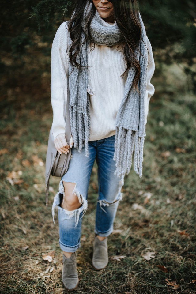 The Perfect Oversized Sweater + Scarf Combo   Pine Barren Beauty   h&m sweater, free people scarf, distressed denim, cozy outfit, winter outfit idea, winter outfit inspiration