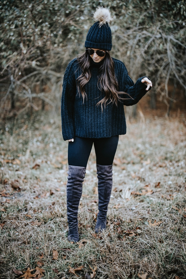 Cozy Holiday Outfit Idea | Pine Barren Beauty | all black outfit idea, winter outfit idea, cozy outfit idea, free people sweater, madewell denim, over the knee boots