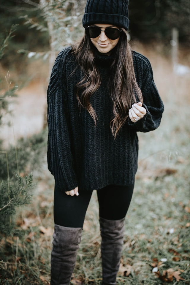 Cozy Holiday Outfit Idea | Pine Barren Beauty | cozy outfit idea, holiday outfit idea, all black outfit idea, winter outfit idea, over the knee boots, free people sweater