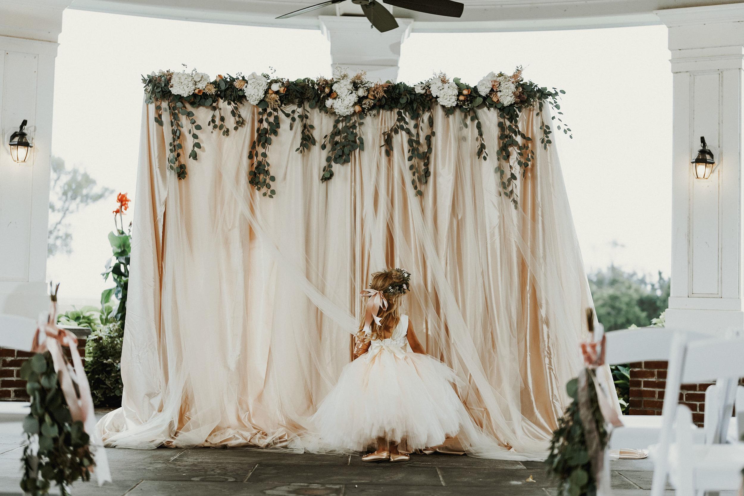 Our Wedding Photos | Pine Barren Beauty | wedding photo ideas, wedding ceremony ideas, wedding backdrop ideas, blush tulle wedding backdrop with eucalyptus