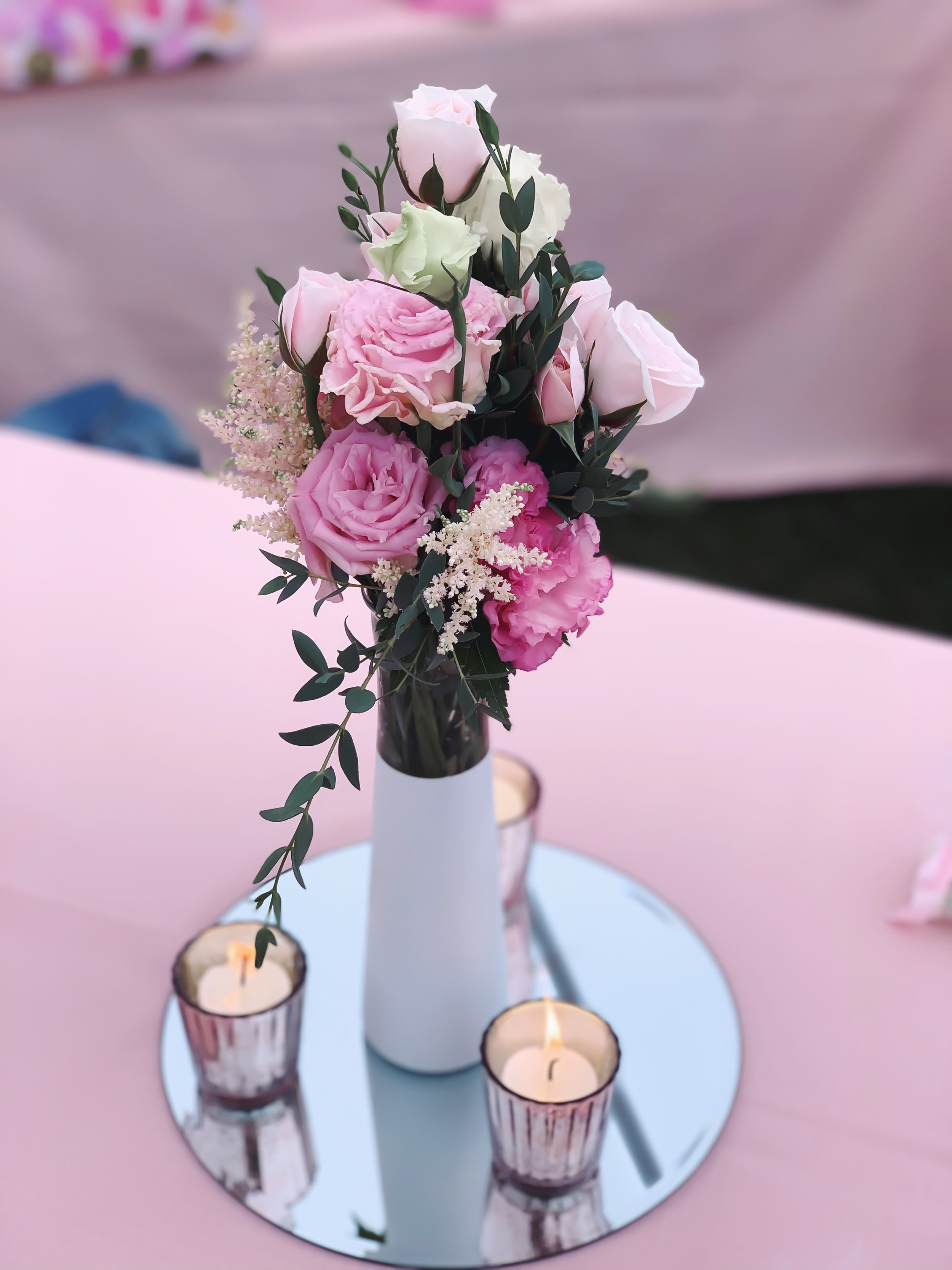 girl baby shower floral centerpieces