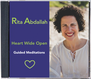 "Heart Wide Open Audio CD   In this 4-track guided imagery audio CD, RITA invites you to open up and have the BENEFIT of touching conversations with your heart. It's your time! ""Heart Wide Open"" nourishes your fourth chakra so that you can revitalize your CENTER, bring HARMONY back to your body and mind, and invigorate your SPIRIT."