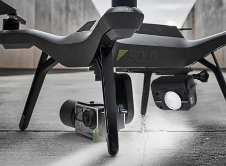 Along with FLIR cabilities, the 3DR Solo has a super bright LED that could prove critical for wilderness and search missions.