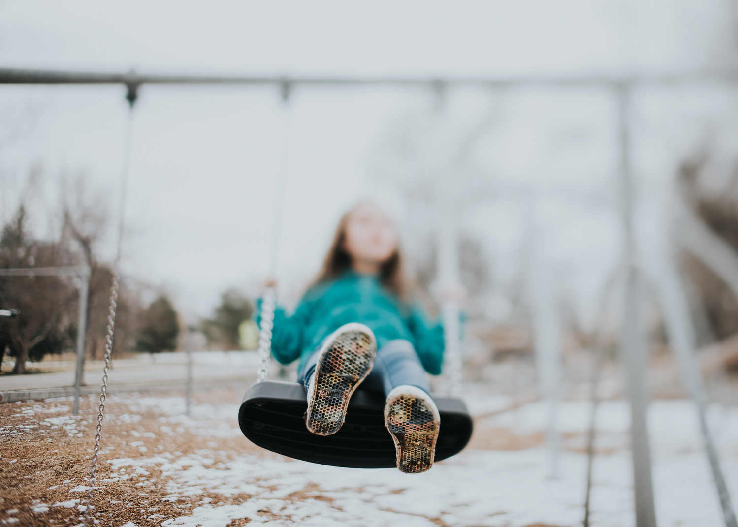 A freelensed image of my daughter, taken in March, during a cold playdate.