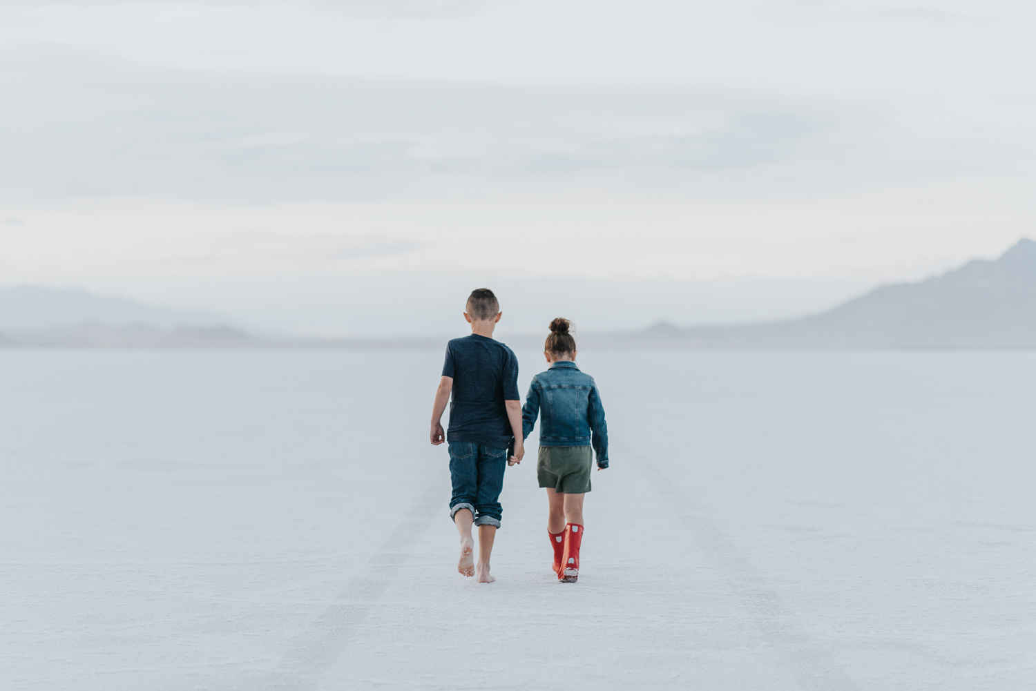 My children, taken in May, at the Bonneville Salt Flats.