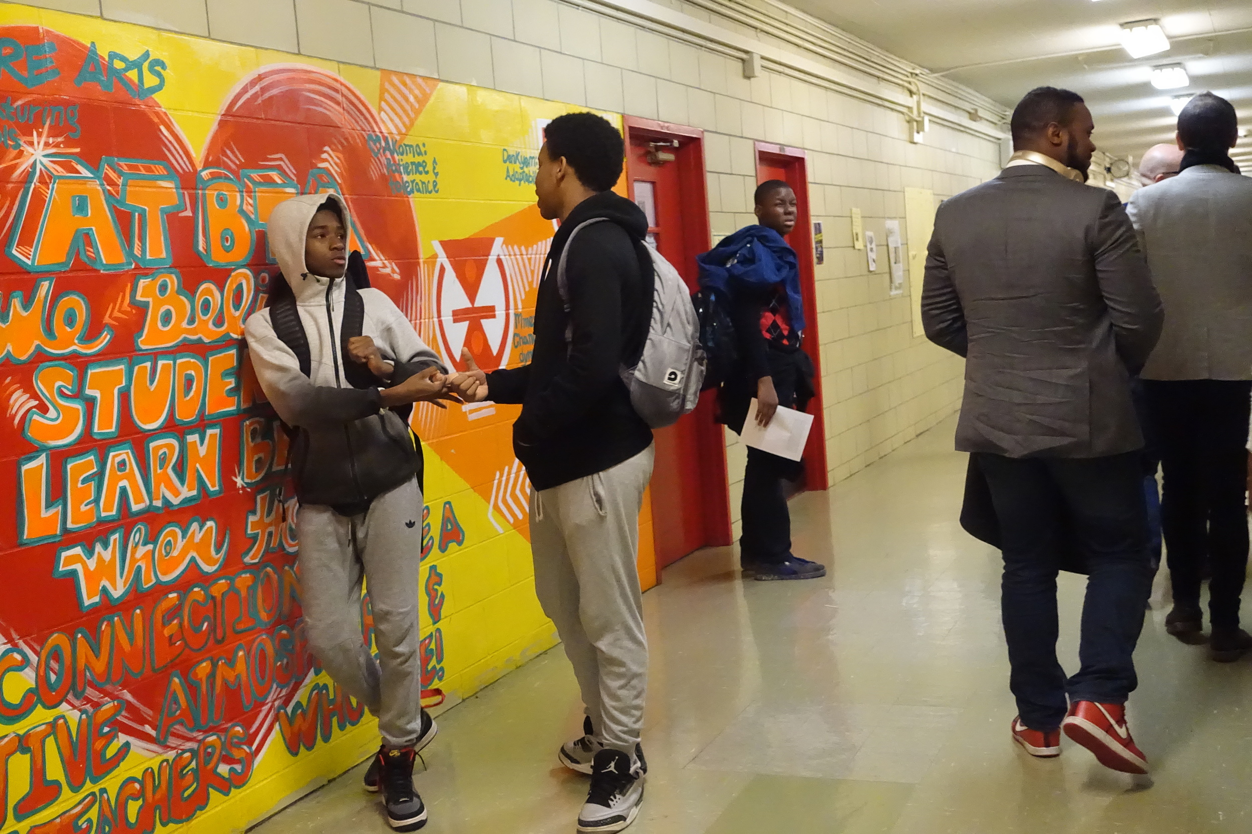"""As we wander the mural-lined walls, Mr. Ward's positive presence was impossible to ignore. """"Hey, Ward!"""" one passing student shouts out. """"What up, Ward?"""" another stays as she delivers a high-five. It seemed he could barely walk five steps without a student sharing their affection. David explained to us that he wants to be a friend to his students and has an open door policy. The effect is obvious. """"Sometimes students stop by just to see what I have in the fridge."""""""