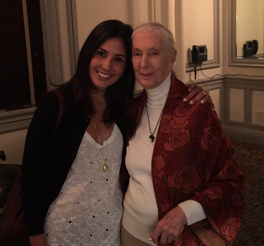 Rebecca with her hero chimpanzee researcher Jane Goodall