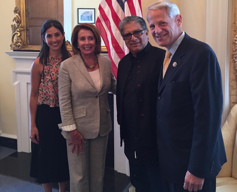 Rebecca with Nancy Pelosi,Deepak Chopra and Steve Israel