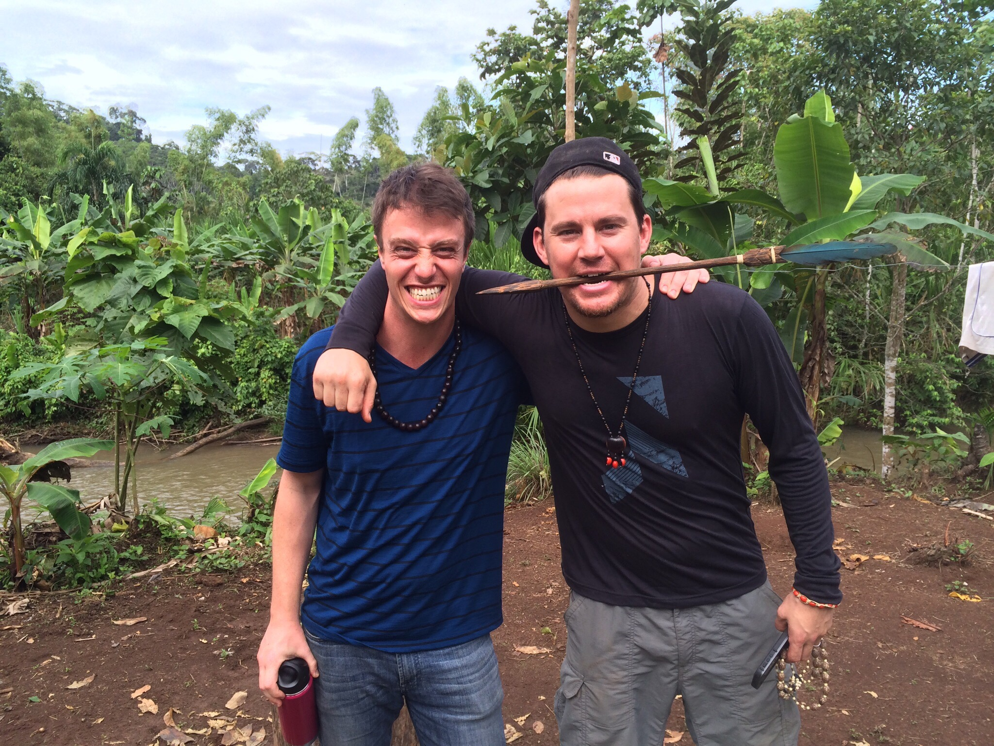 Dan with Channing Tatum in the Amazon doing a piece for Runa.