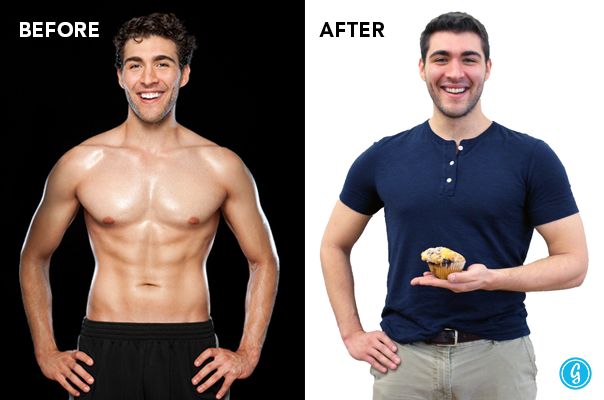 Derek before and after his six pack experiment.