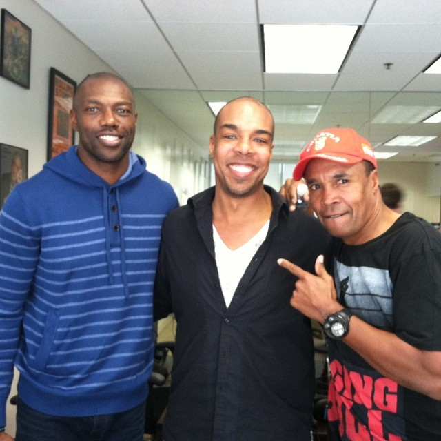 Chris with Terrell Owens and Sugar Ray Leonard