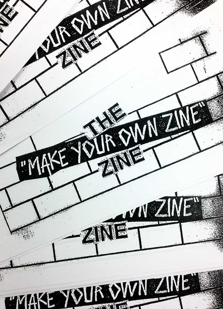 We've created our own zine cover page to help get you started. You can find them  during any of our workshops & events. - Design By Justin Atallian