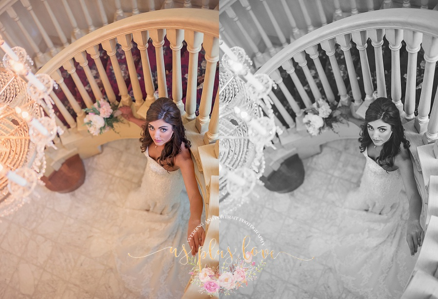 bride-formal-staircase-potrait-stunning-glowing-beaming-hair-makeup-airbrush-natural-black-and-white-ashelynn-manor-wedding.jpg