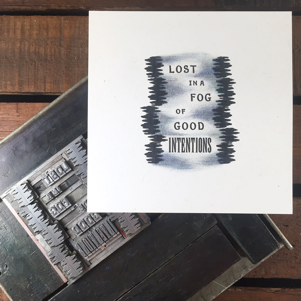 'Lost in a Fog' hand colored print