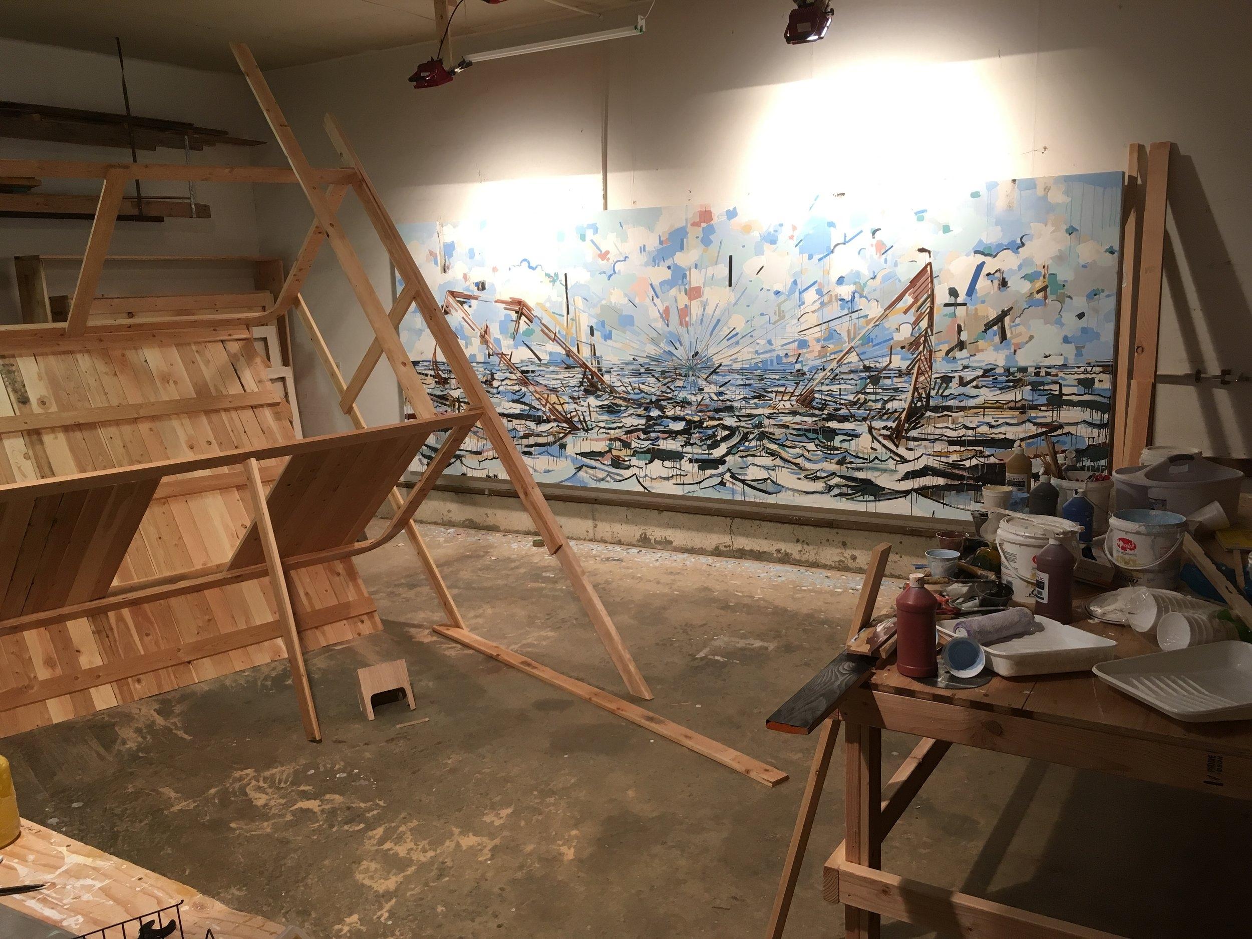 Works in progress in the studio.