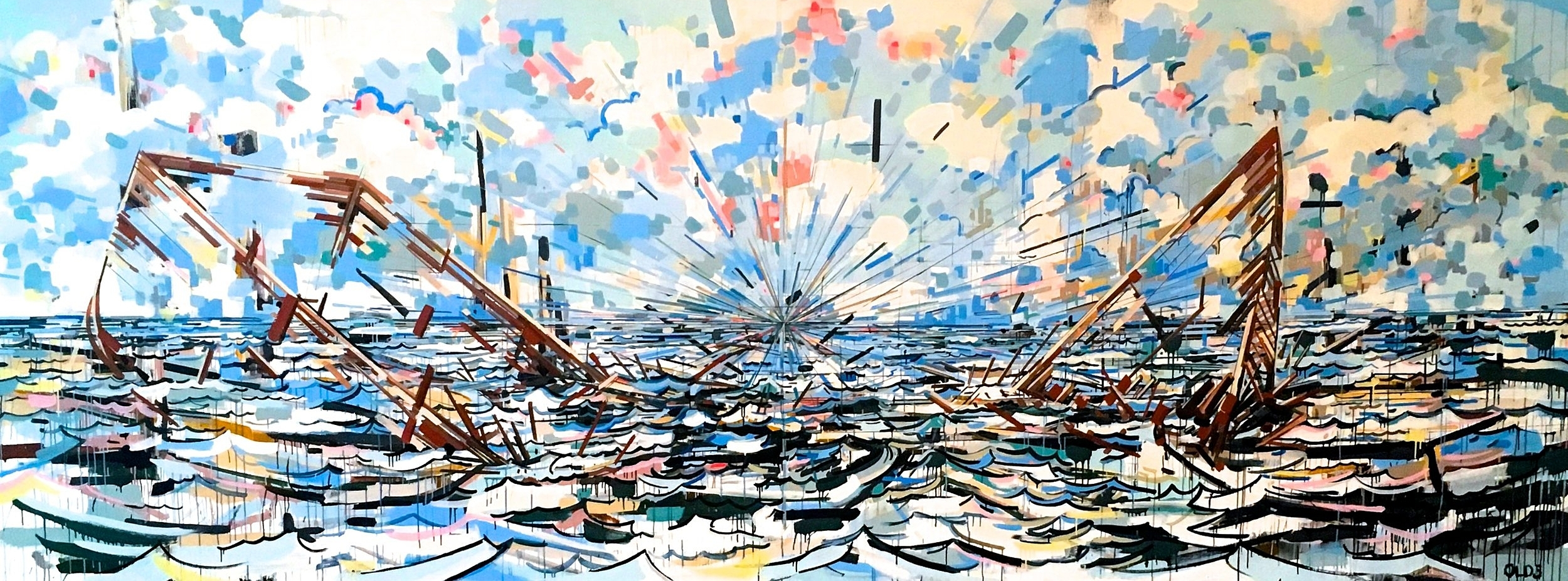 Shipwreck , 6x16', acrylic on canvas covered panel.  A ship divided does not float. This is very much a reaction to the 2016 Election cycle.