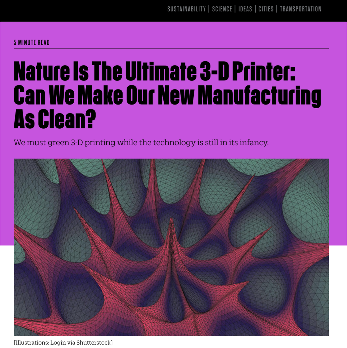 - Nature's recipes and structures for 3D printing