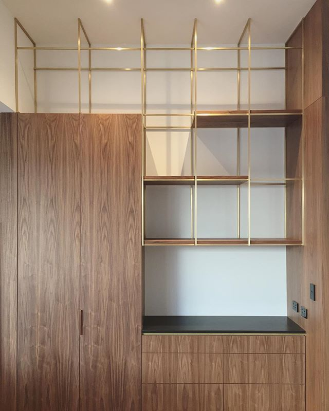 Brass and Solid Walnut shelving unit