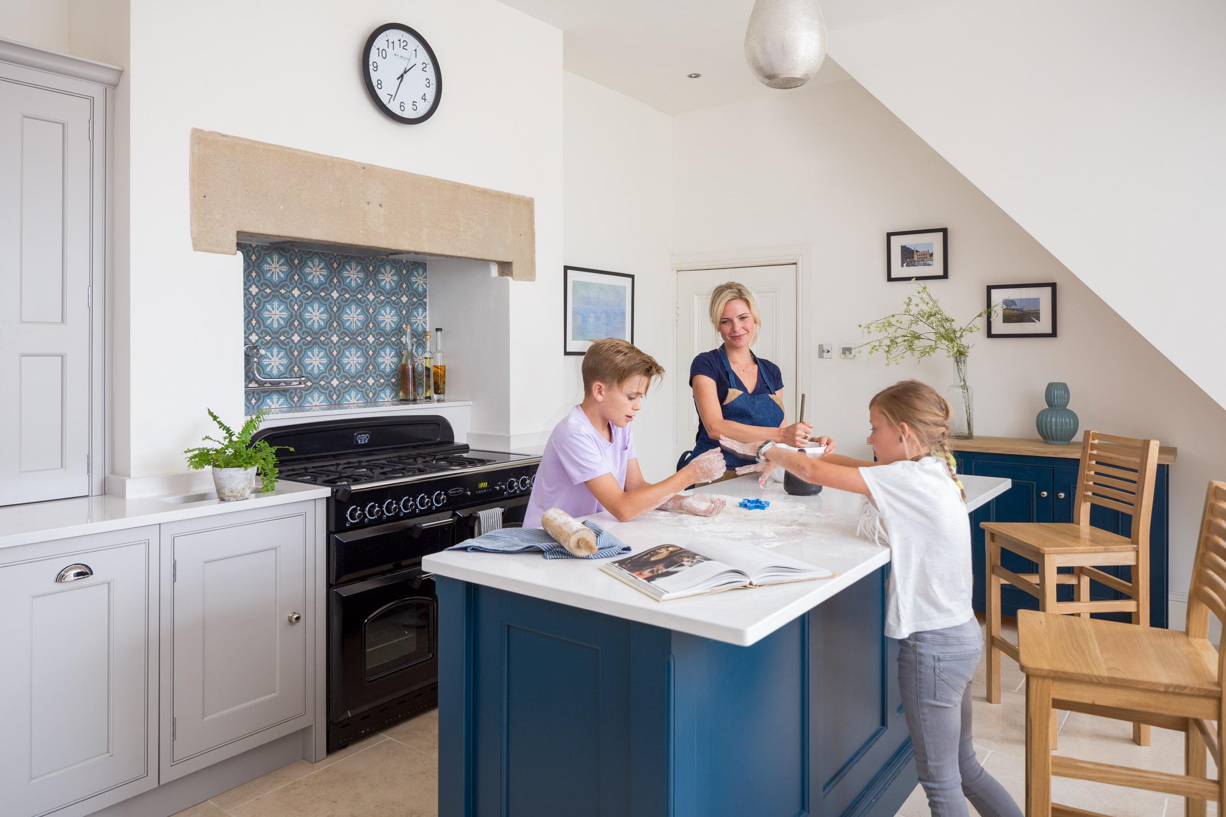 handmade custom bespoke kitchen interior lifestyle children baking with mother.jpg