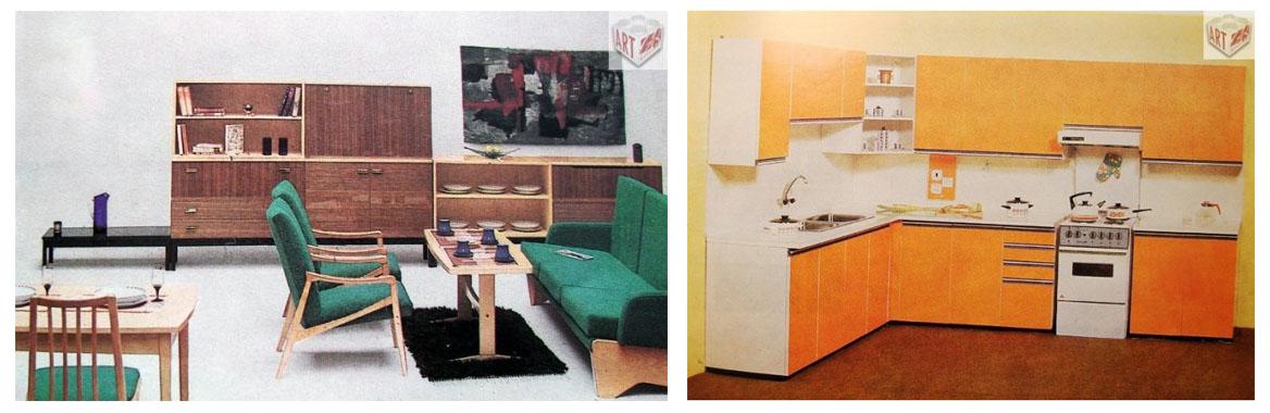 Obývací pokoj U-550 C, Interiér Praha                   Sektorová kuchyně ASTA, Jitona n.p.
