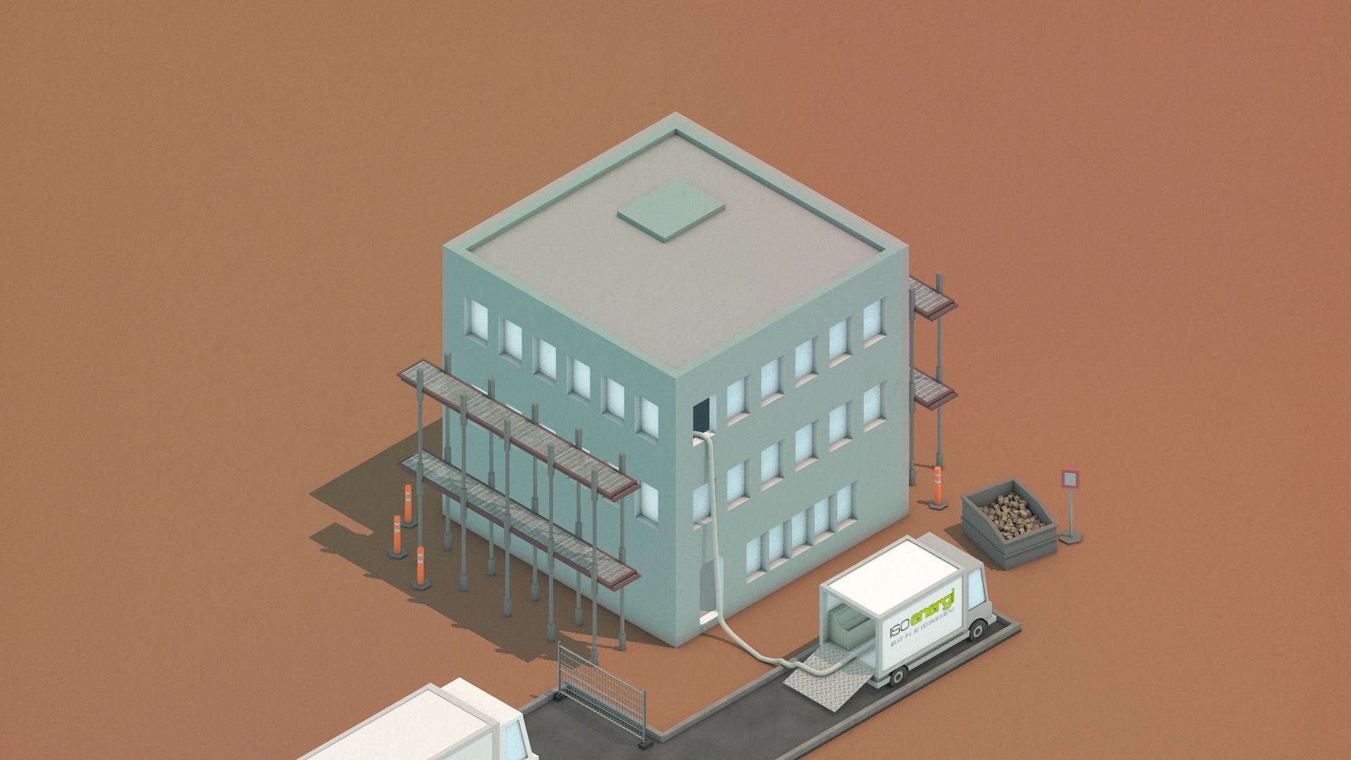 Logistikk er enklere med valg av blåseisolering. Det være seg høye bygg eller lave, det er uansett kun slangen som føres inn i bygget