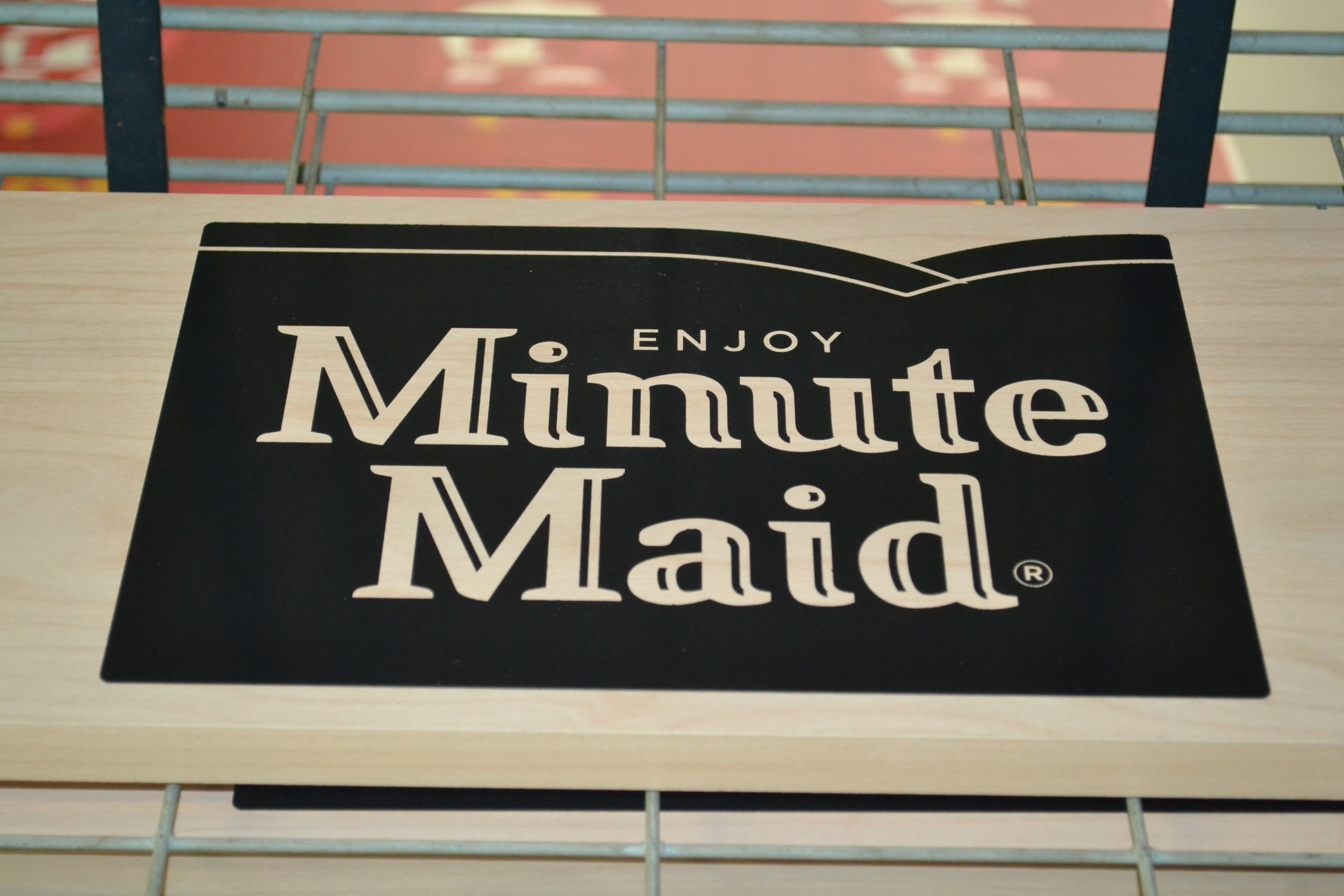 Screen Printed Sign on Wood Substrate - Minute Maid