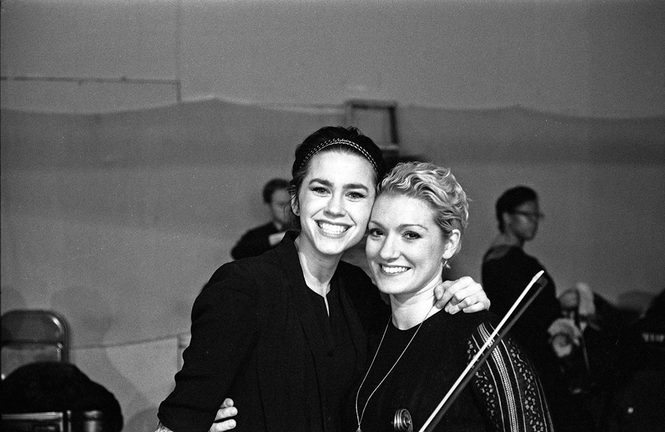Violist Emily Bookwalter and violinist Allison Dubinski before a performance with the String Orchestra of Brooklyn  Film photo by Larry Beckhardt.