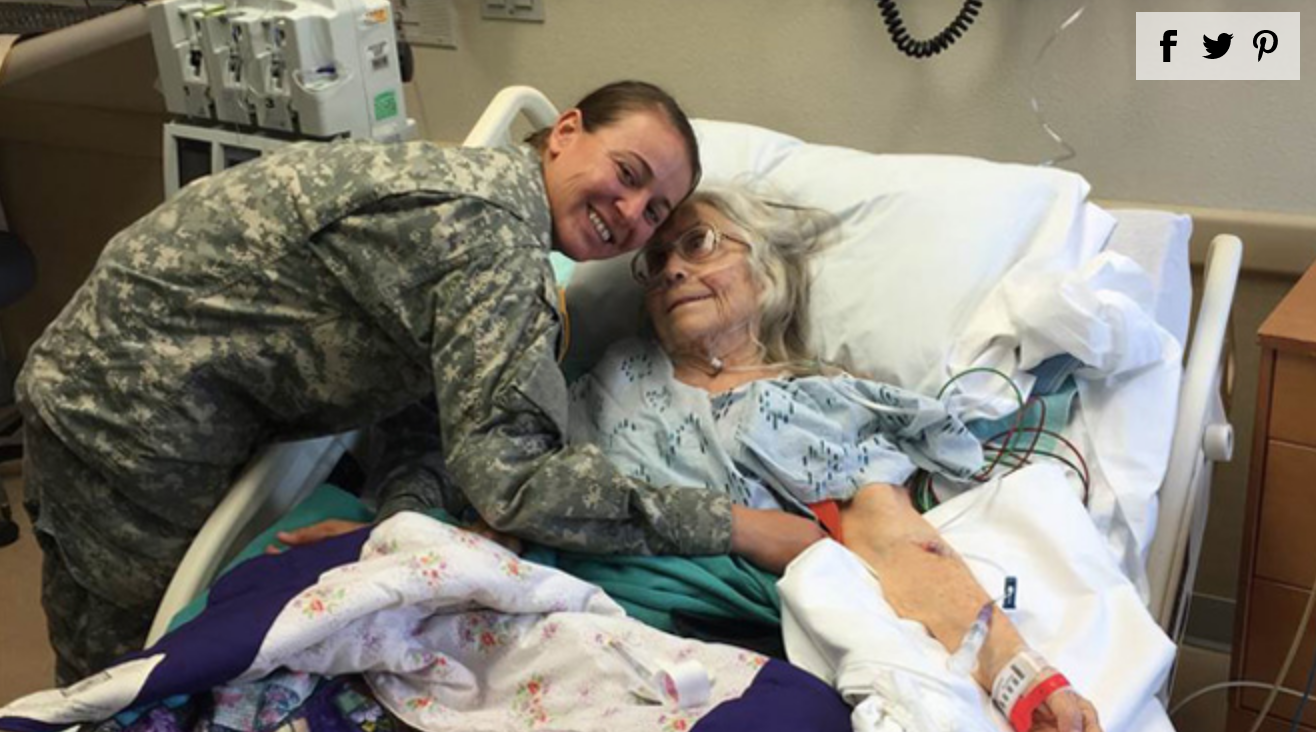 Soldiers Line Up at Hospital Bedside of 'Hug Lady'
