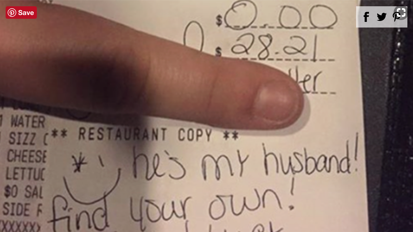 Server's Message to Newlywed Who Wouldn't Tip