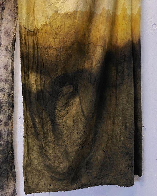 Dip dye landskab 🌿 @liliandorge #dipdye #silk #regnfang #denflydendeudstilling #naturaldye #plantdye #botanicaldye #regnfang #ecoprint
