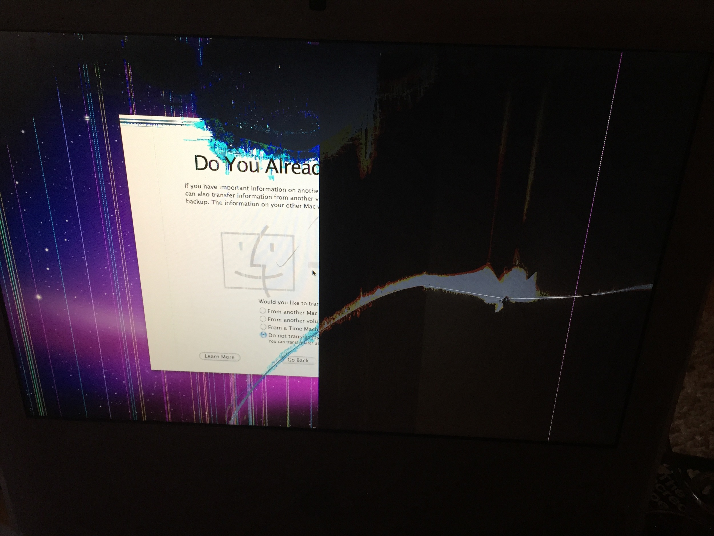 iMac with a broken display