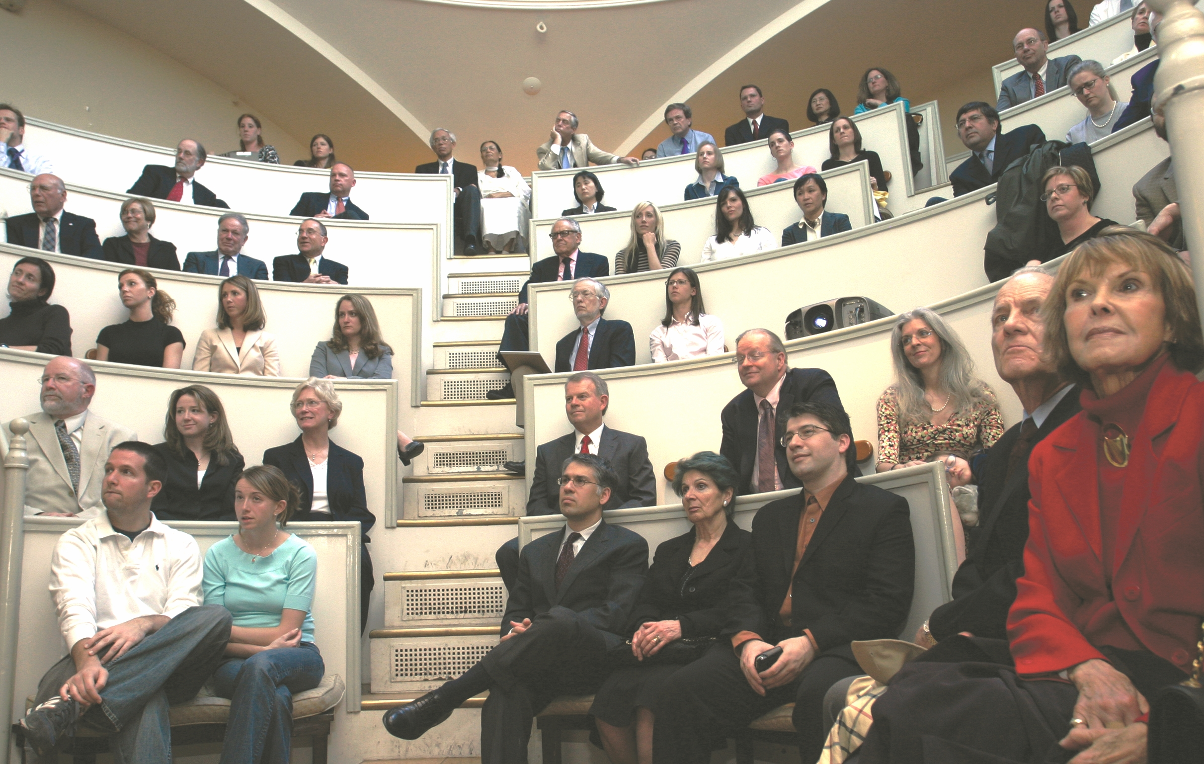 Attendees at the lecture in the famed Etherdome in the Bullfinch Building of the MGH.