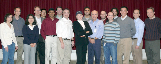 RESEARCHERS OF THE VOICE RESTORATION RESEARCH PROGRAM WITH JULIE ANDREWS.