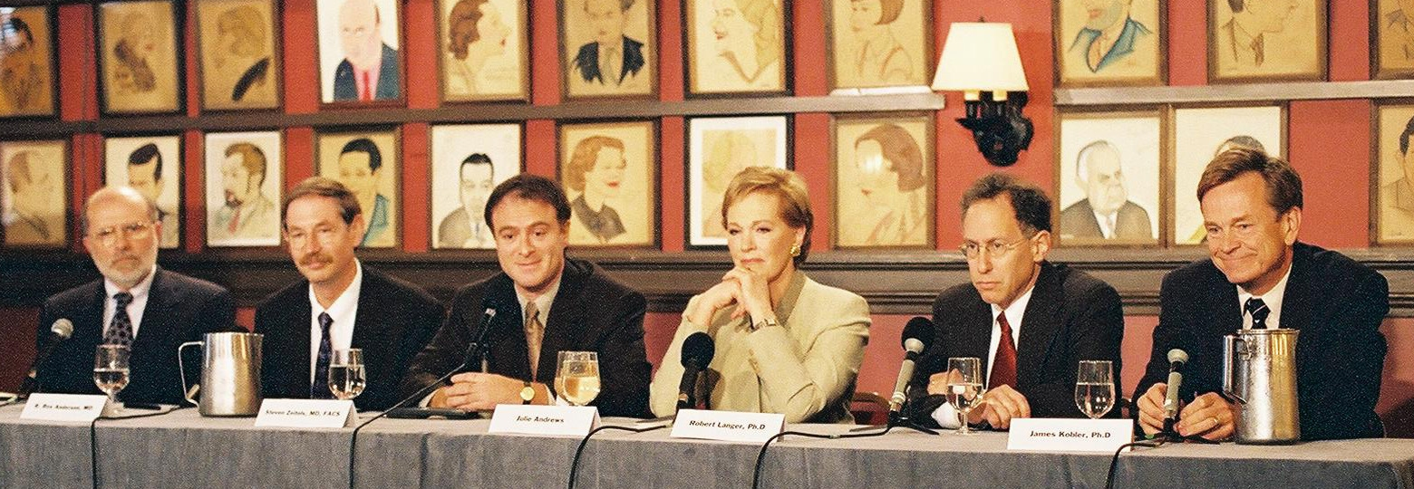 2003 Press conference to announce the voice restoration research project. (left TO RIGHT) Dr. Robert Hillman, Dr. R, Rox Anderson, Dr. Steven Zeitels, Dame Julie Andrews, Dr. Robert Langer, Dr. James Kobler.