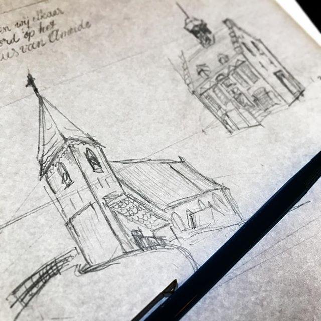 Het is altijd leuk om iconische gebouwen te tekenen. Zeker als ze in je omgeving staan. Deze komen op een trouwkaart binnenkort. Maar.. dit zijn nog wel schetsen, hoor.