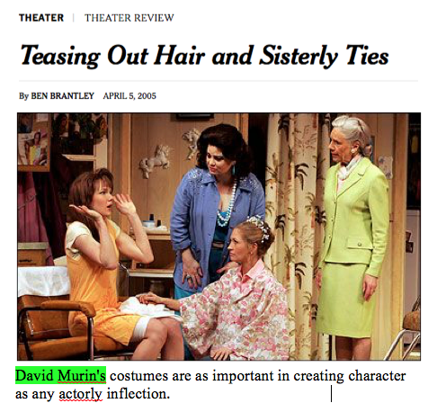 David Murin dresses Delta Burke, Marsha Mason, Rebecca Gayheart, Christine Ebersole, Lily Rabe and Frances Sternhagen in the Broadway revival of Steel Magnolias at the Lyceum Theater, directed by Jason Moore. Play by Robert Harling.